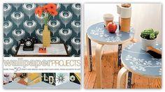 Printed wallpaper on furniture! Wallpaper Furniture, Inexpensive Home Decor, Print Wallpaper, Printed, Crafts, Ideas, Manualidades, Prints, Handmade Crafts