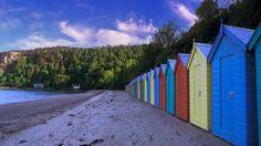 Colourful beach huts at Llanbedrog, Llyn Peninsula