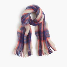 J.Crew Gift Guide: women's brushed scarf in vibrant plaid.