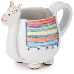 UncommonGoods Llana the Llama Mug (125 BRL) ❤ liked on Polyvore featuring home, kitchen & dining, drinkware, stoneware, animal coffee mugs, handmade stoneware mugs, tea mugs, hot coffee mug and chocolate mug