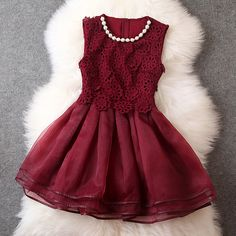 Gorgeous Embroidered Lace Dress For Women - Wine Red