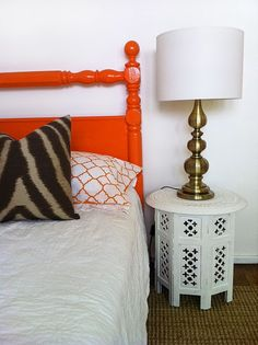 Orange bed, how effective. Makes me want to paint my bookcase bed from dull brown-wood color to something bright. Orange Painted Furniture, Cannonball Bed, Bookcase Bed, Condo Decorating, Progress Report, Brown Wood, First Home, Country, Wood Colors