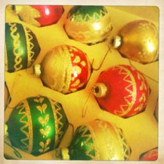 Vintage Shiny Brite ornaments, from Grandma Marge
