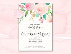 Bridal Shower Invitation Printable Blush by LittleSparkCreations