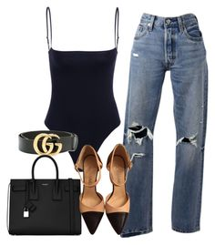 """Sin título #3835"" by camilae97 ❤ liked on Polyvore featuring Levi's, Gucci, Yves Saint Laurent and Chanel"