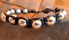 SALE Beaded Leather Bracelet Woven Macrame by WrappedInLeather, $22.95