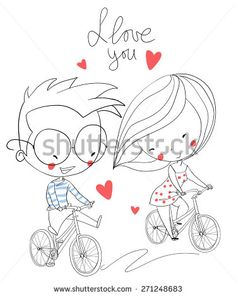 Girl and boy biking. Love card. - stock vector