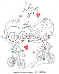Girl and boy biking. Love card. - stock vector
