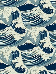 Cole & Son Wave Wallpaper has a Hokusai vibe, but would look perfect in even the preppiest of homes.This Cole & Son Wave Wallpaper has a Hokusai vibe, but would look perfect in even the preppiest of homes. Waves Wallpaper, Cool Wallpaper, Pattern Wallpaper, Wallpaper Ideas, Wallpaper Desktop, Nautical Wallpaper, Wallpaper Designs, White Wallpaper, Bathroom Wallpaper
