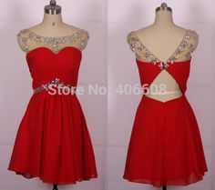 Find More Prom Dresses Information about 2015 Real Photo Chiffon Cheap A Line Beaded Scoop Bridesmaid Dress Spring Red Short Prom Dresses,High Quality dress birthday,China dress shoes flat feet Suppliers, Cheap dress lips from Forever Lover Bridal on Aliexpress.com