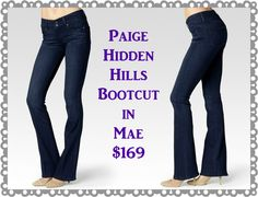"Paige Hidden Hills Bootcut in Mae and Stream:  A high rise boot cut with a unique double-button waistband.  Front Rise: 9""  Inseam: 34 1/2""  Leg Opening: 20""  9.5 oz Fabric  80% Cotton, 19% Polyester, 1% Spandex  Available size 24-34"