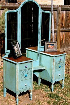 Antique vanity table with 6 drawers and 3-way mirror. Dates to the 50s.  Hand painted in a custom color made with Annie Sloan Chalk Paint. on Etsy, $675.00