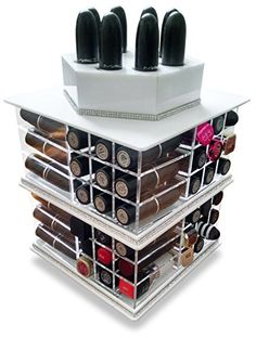 Clear Acrylic Rotating / Spinning Lipstick Holder Tidy Organizer - Can Hold up to 81 Lipsticks (White) Oi Labels http://www.amazon.co.uk/dp/B00WUMLB8G/ref=cm_sw_r_pi_dp_2cQGvb0W9SAHF