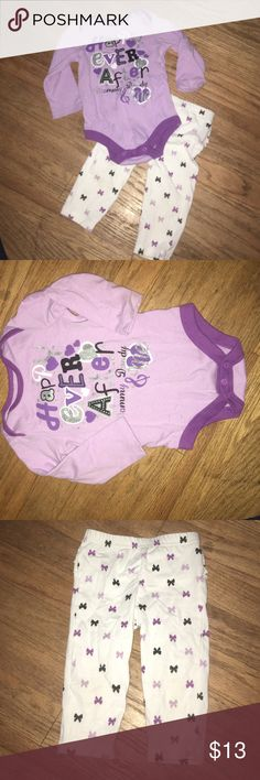 Happily Ever After Mommy, Daddy & Me Set 2 Pc 6-9M Purple set. Wrinkled from being in a bag but in mint condition. Great bundle item. Matching Sets