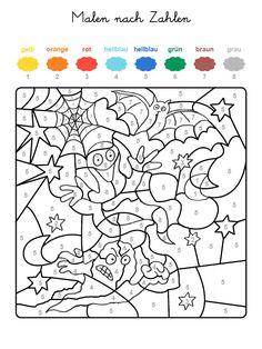 ausmalbild malen nach zahlen: halloween: kürbisse ausmalen kostenlos ausdrucken | herbst