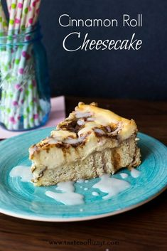 Cinnamon Roll Cheesecake {Tastes of Lizzy T} Cinnamon rolls topped with a layer of cinnamon swirled cheesecake! http://www.tastesoflizzyt.com/2013/09/04/cinnamon-roll-cheesecake/