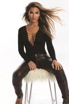 Jessie James Decker wearing Kittenish Lace Up Bodysuit and Kittenish Faux Oxblood Leggings