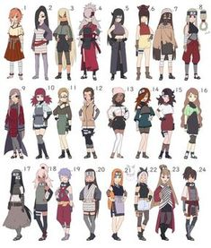 Naruto Female Adoptables Batch [ALL SOLD tysm!] by Ringoleen on DeviantArt Naruto Girls, Anime Naruto, Anime Ninja, Naruto Fan Art, Anime Oc, Naruto Oc Characters, Female Characters, Female Character Design, Character Art