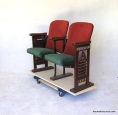 I've wanted old theater seating for my bedroom for years. Never seem to have a stray thousand on me. Sadly. 1920s Movie Theater Chairs RKO Silk Velvet & Cast Metal All Original. $1,150.00, via Etsy.
