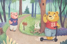 Children's book illustration with bears runing at the forest for Happy Bears series by Margarita Levina Bear Character, Character Design, Jungle Coloring Pages, Illustrations And Posters, Children's Book Illustration, Whimsical Art, New Art, Childrens Books, Illustrators