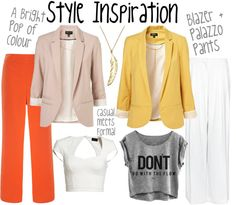 blazer + crop top + palazzo pants. Perfect. http://www.quirkychic.me/2012/08/17/palazzo-pants/