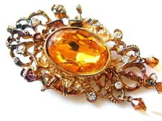 Vintage Victorian Shield Brooch Glam Sparkle Honey Amber Citrine Cab