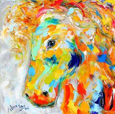Original oil painting Horse portrait abstract by Karensfineart