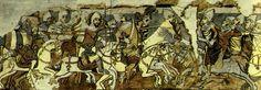 The Saint Ladislaus legend in the Church of Maksa, Romania.  László Gyula: A Szent László-legenda középkori falképei. Tájak-korok-múzeumok könyvtára 4. Budapest, 1993