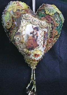 I ❤ crazy quilting & embroidery . . .  Large Crazy Patch heart ~by Judith McCarthy of Judy's Fabrications