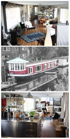 Is it really possible to live on a houseboat?different types of houseboats that are commonly used as fulltime dwellings of vacation homes. Dutch Barge, Houseboat Living, Living On A Boat, Water House, Boat Interior, Unusual Homes, Floating House, Narrowboat, Wooden Boats