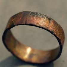 Custom Copper Ring Band For Men Women Wood Grain Finish Choose Your Width