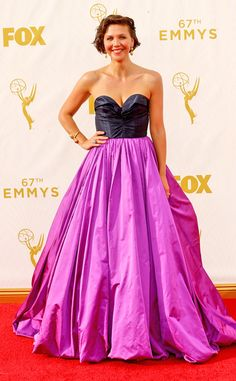 Maggie Gyllenhaal from 2015 Emmys: Red Carpet Arrivals  In Oscar de la Renta with Fred Leighton jewelry