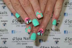 Palm trees and Star fish nail design