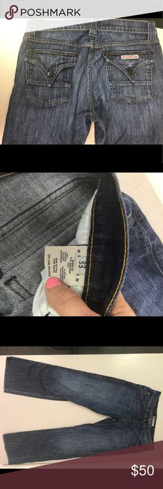Hudson Jeans - Men's size 33x31 Gently worn, in excellent condition men's blue jeans size 33x31. Button back pockets with button down fly. Hudson Jeans Jeans Straight Leg