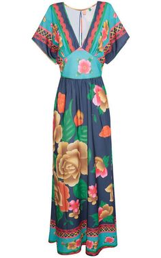 Vestido longo floral - azul e verde