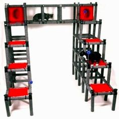 Feline Furniture Cat Castle - could totally DIY this out of PVC pipe and canvas! Cat Activity Centre, Activity Centers, Cat Playhouse, Cat Castle, Cat Gym, Pvc Pipe Projects, Cat Towers, Cat Playground, Cat Enclosure