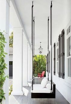 Modern porch swing - House & Home Bed Swing, House Design, Home, House With Porch, Outdoor Living, Modern Porch Swings, Modern Porch, House Exterior, Exterior Design