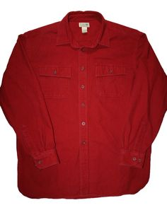 Vintage LL Bean Red Flannel Work Shirt Mens Size XL $32.00