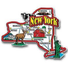 Our New York jumbo state magnet measures approximately 9 square inches and has a thickness of 0.1. This Classic New York State Jumbo Magnet is perfect for any refrigerator or metal surface and makes a