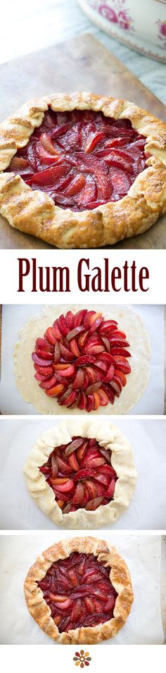 Plum Galette ~ Bright and delicious rustic plum tart, using a variety of tart plums and pluots ~ SimplyRecipes.com
