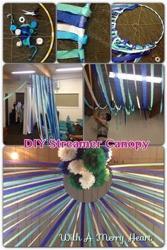 DIY Streamer Canopy Need: hula hoop, sticky tape, twine/string, scissors, lots of steamers! Wrap the end of a streamer around the hoop and fix with sticky tape. Now depending on where you hang the hoop will change the length of your steamers. If your hoop is centered in the room have your steamers go all around the hoop.attach your hoop to the ceiling. To fill the hoop up I hung some Tissue Paper Pom Poms!