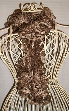 Hand Knit Lacy Ruffled Scarf  Browns and Tans.  I have made so many of these this winter!  So easy too!