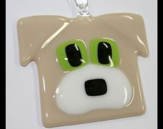 Glassworks Northwest - Golden Beige Dog - Fused Glass Ornament