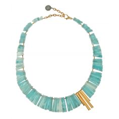 Emi Necklace : Gemma Redux New York. Gold plate and amazonite.