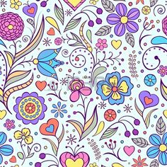 Illustration of Vector illustration of seamless pattern with abstract flowers Floral background vector art, clipart and stock vectors.