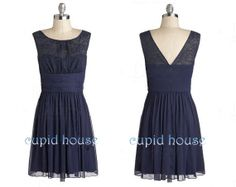 Short Lace Bridesmaid Dress Simple Cheap Sleeveless by CupidHouse, $79.00