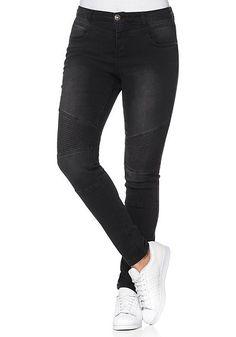 sheego Denim Power-Stretch-Jeans im Biker-Look - black Denim | sheego XXL-Mode