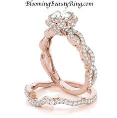 Unique Engagement Rings for Women by Blooming Beauty Jewelry Handmade Engagement Rings, Antique Engagement Rings, Rose Gold Engagement Ring, Wedding Rings Rose Gold, Wedding Rings Vintage, Wedding Band, Dream Wedding, Pretty Rings, Beautiful Rings
