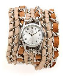 Neutral Lambskin Leather Wrap Watch