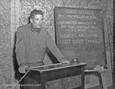 WWII, 1944 - Sergeant Walter Markovich of the 899th Tank Destroyer Battalion of the First US Army speaks at a press conference.  He destroyed eight German tanks, two heavy artillery pieces, one anti-tank gun, and seventeen machine gun nests and countless German soldiers.  November 22, 1944